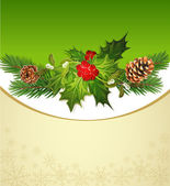 Vector holiday background, tree, pine cones, holly and the frame — Stock Vector