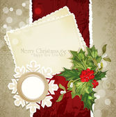 Vector vintage retro christmas background with sprig of European — Stock Vector