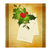 Christmas greeting with holly and a two greeting cards — Cтоковый вектор