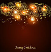 Christmas background with a glowing golden garland handmade — Stock Vector
