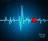 Fond avec un battement de coeur de moniteur, coeur — Vecteur