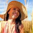 Young womwearing sun hat — Stock Photo #7403072