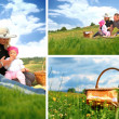 Stock Photo: Family picnic collage