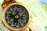 Compass and map — Foto Stock