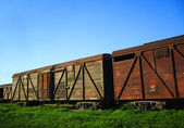 Old rusty freight train carts — Stock Photo