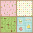 Stock Vector: Set of Beautiful Cupcakes Backgrounds - in vector