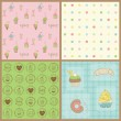 Set of Beautiful Cupcakes Backgrounds - in vector - Stock Vector