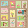 Royalty-Free Stock Vector Image: Sweet Cakes and Desserts Postage Stamps in vector