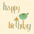 Greeting Birthday Card with Cute Bird and cake with candle — Stock Vector