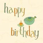 かわいい鳥やキャンドルのケーキと誕生日カード — ストックベクタ