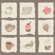 Coffee Design Elements on torn Paper - for scrapbook, design - Stock Vector