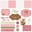 Wektor stockowy : Scrapbook design elements - Vintage Love Set