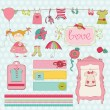 Royalty-Free Stock Vectorielle: Design Elements for baby Scrapbook - Baby Girl Wardrobe