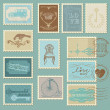 Retro Postage Stamps - for wedding design, invitation - Stok Vektör