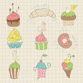 Set of Cute Cupcakes and Desserts - for design, scrapbook — Stock Vector