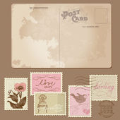 Vintage Postcard and Postage Stamps - for wedding design — Vecteur
