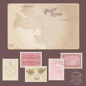 Carte postale vintage et timbres-poste - pour la conception du mariage — Vecteur