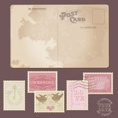 Vintage Postcard and Postage Stamps - for wedding design — Vetorial Stock