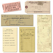 Old paper objects - vintage tickets, letters, notes - for design — Stock Vector