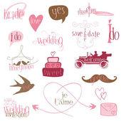 Romantické svatební návrhové prvky-pro pozvání, scrapbook — Stock vektor