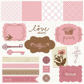 Scrapbook design elements - Vintage Love Set — Stock Vector