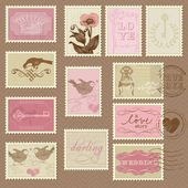 Retro Postage Stamps - for wedding design, invitation — Stok Vektör