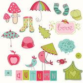 Autumn Cute Elements Set - for scrapbook, design, invitation — Stock Vector