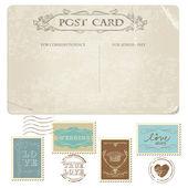 Vintage kartpostal ve pulları - düğün tasarımı için — Stok Vektör