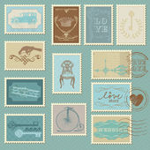 Retro Postage Stamps - for wedding design, invitation — ストックベクタ