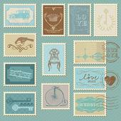 Retro posta pulları - düğün tasarımı, davet için — Stok Vektör