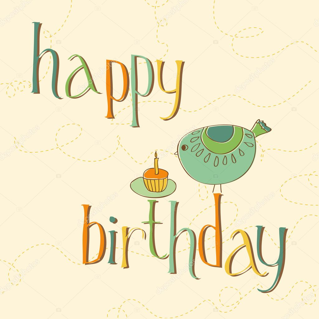 Greeting birthday card with cute bird and cake with candle stock