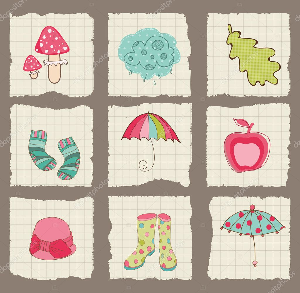 Scrapbook paper designs -  Autumn Cute Elements On Torn Paper For Scrapbook Design Stock
