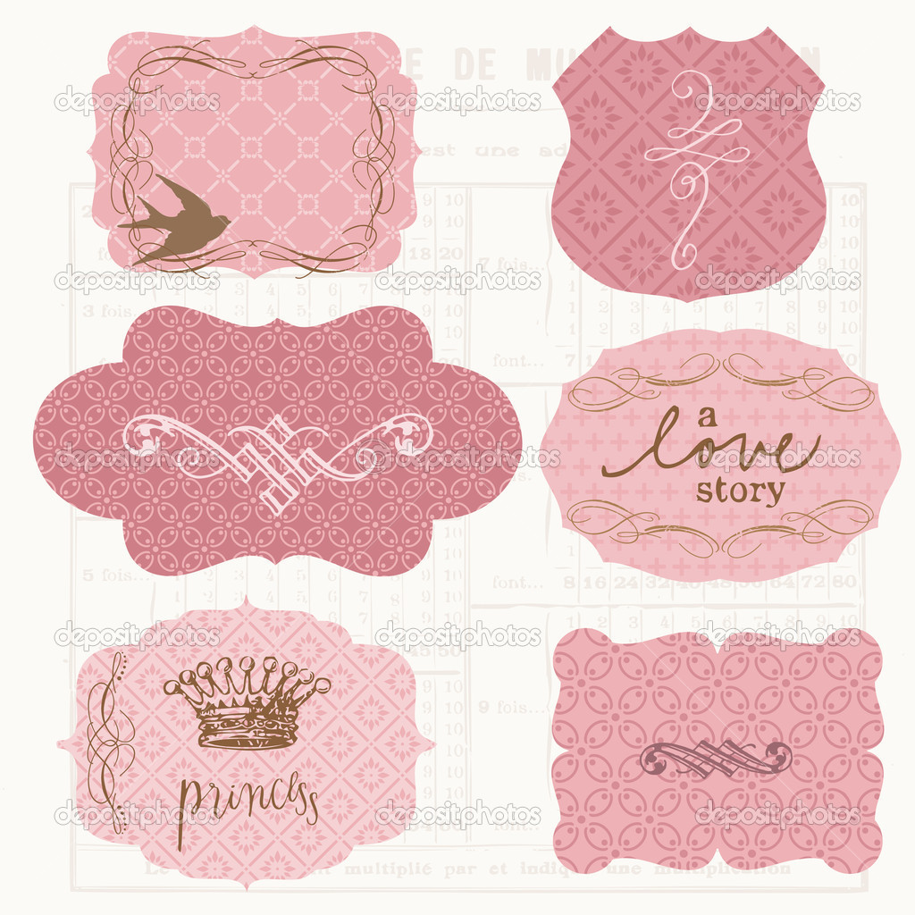 Vintage Design elements for scrapbook - Old tags and frames  Stock Vector #6910416