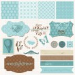 Scrapbook design elements - Vintage Love Set — Stok Vektör