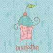 Vintage Invitation Card with cute Cupcake - in vector — Stock Vector