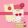 Scrapbook design elements - Sweet Cherry and Desserts in vector — Stock Vector