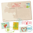 Vintage Christmas Postcard with Stamps - for scrapbook, design — Stock Vector