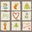 Christmas Design Elements on torn Paper - for scrapbook, design — Vettoriali Stock