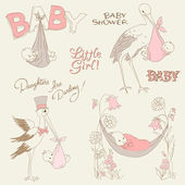 Vintage Baby Girl Shower and Arrival Doodles Set-design elements — Stock Vector