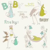 Vintage Baby Boy Shower and Arrival Doodles Set -design elements — Stock Vector