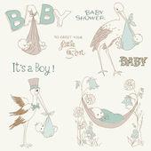Vintage Baby Boy Shower and Arrival Doodles Set -design elements — Stock Vector