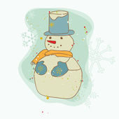 Retro Christmas Snowman Card - for scrapbook, design, invitation — Vector de stock