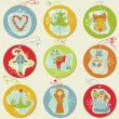 Christmas Tags - design elements for scrapbook, invitation, gree — Stock Vector