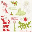 Christmas Vintage Design Elements - for scrapbook, invitation — Stock Vector