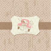 Postal vintage de luna de miel - para el diseño, invitación — Vector de stock