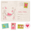 Baby Girl Shower Card with set of stamps — Stock Vector