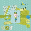 Scrapbook design elements - Cute Baby Boy Set — Stock Vector