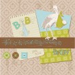 Scrapbook Vintage design elements - Baby Boy Announcement — Imagen vectorial