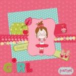 Scrapbook design elements - Cute Baby Girl Set — Stock Vector