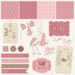 Scrapbook Vintage design elements - Baby Girl Announcement - Stok Vektör